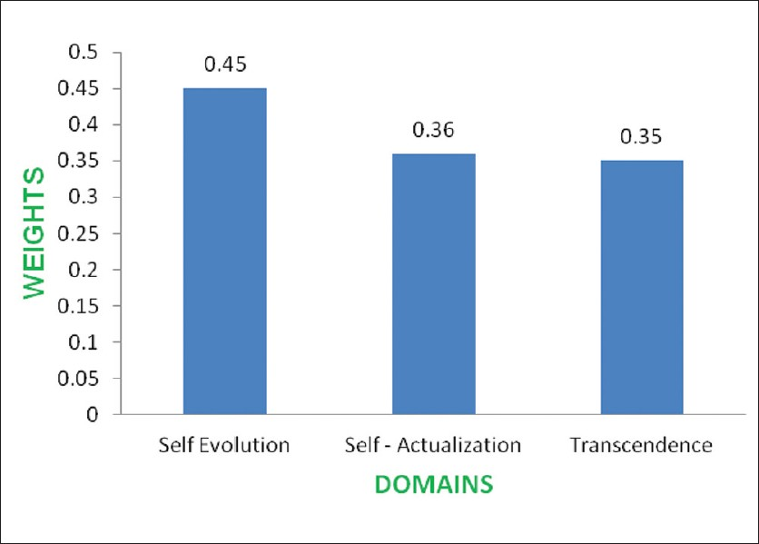 Figure 1: Graphic representation of weights for 3 domains on the basis of regression analysis