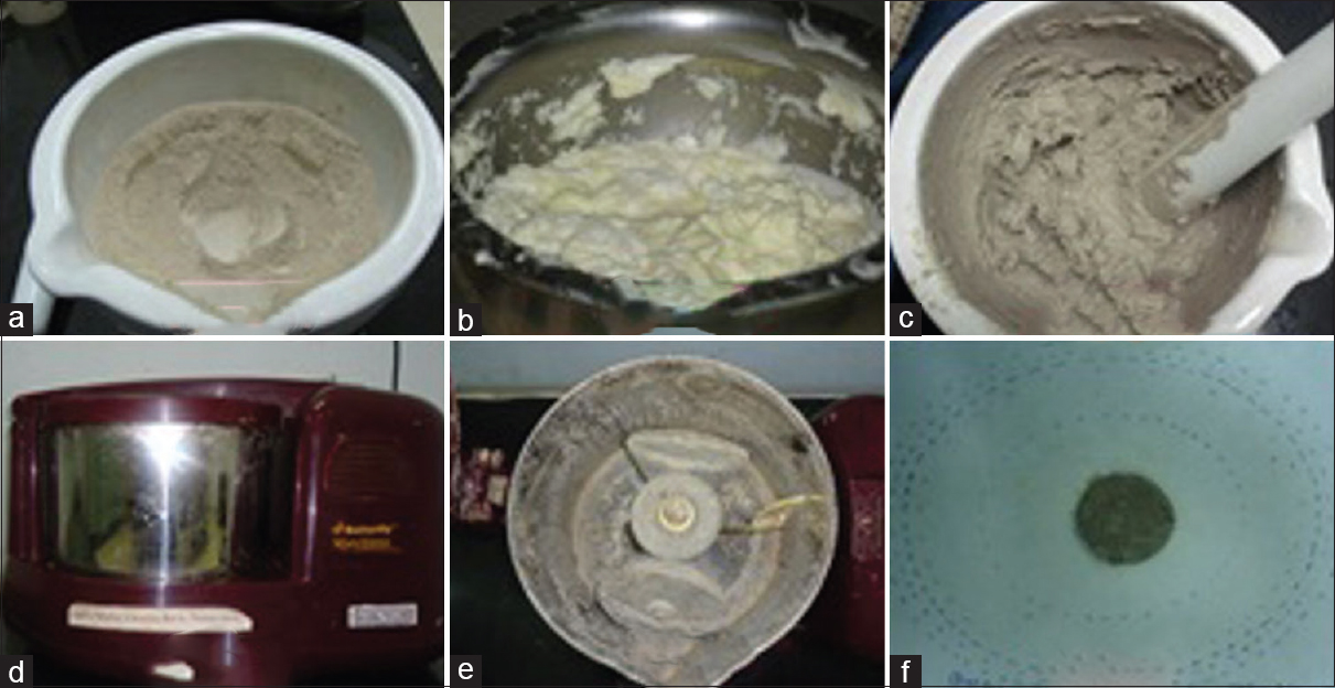 Figure 1:(a) <i>Maricha</i> added to <i>Yashada Bhasma</i>. (b) Freshly prepared butter. (c) Trituration after addition of <i>Navaneeta</i> for 6 h. (d and e) Butterfly matchless table top wet grinder with three conical roller stone. (f) Ten grams pellet kept over Whatman filter paper (no. 40) to assess fat content of mass by virtue of spreading